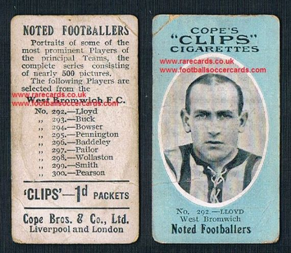 1909 Cope's Clips 3rd series Noted Footballers, 500 back, 292 Lloyd